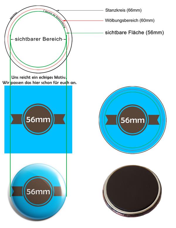 56mm Buttons Kühlschrankmagnet Vorlage