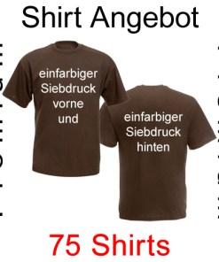 75 premium T-Shirts vorne und hinten einfarbig bedruckt mit deinem Motiv
