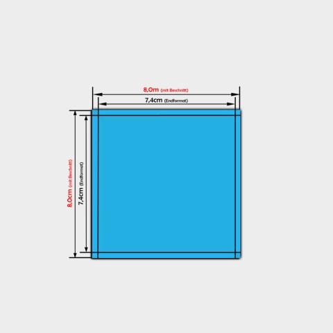 quadratische Papier Aufkleber 7,4x7,4cm