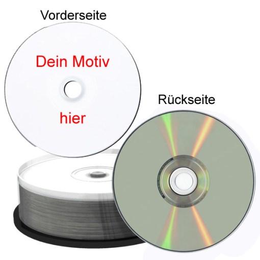 bedruckte CD Rohline mit silberner Brennseite