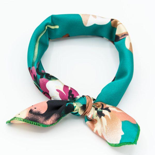 Bandana femme turquoise à fleurs