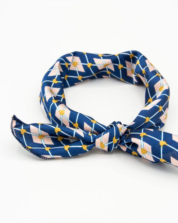 bandana foulard géomtrique bleu pour femme