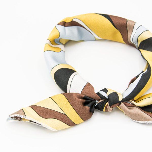 bandana géométrique jaune et marron pour femme