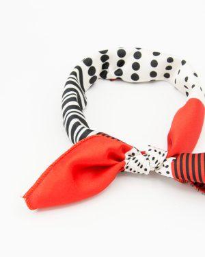 Bandana géométrique rouge et blanc pour femme