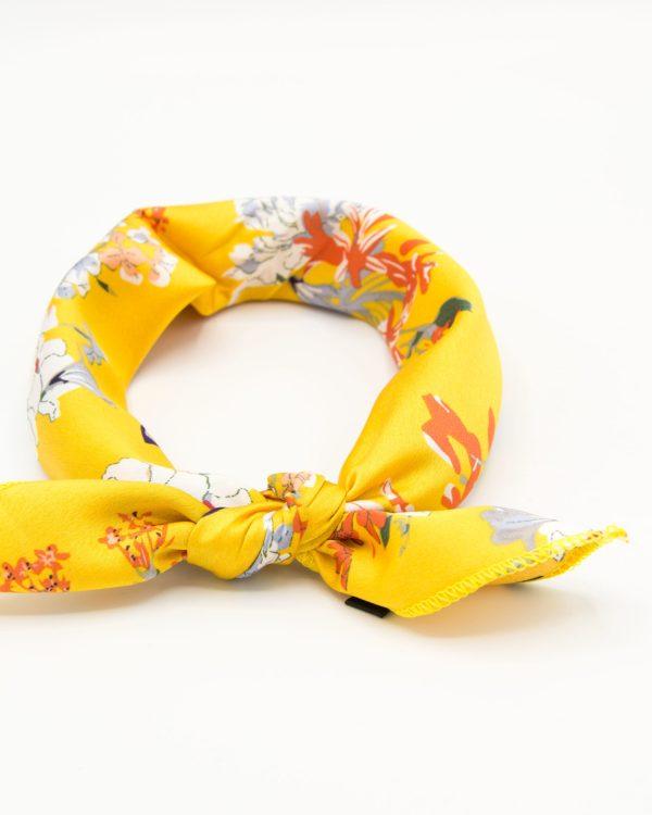bandana pour femme jaune à fleurs