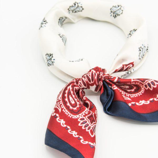 bandana soie rouge et blanc pour femme