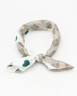 bandana vintage blanc à taches vertes