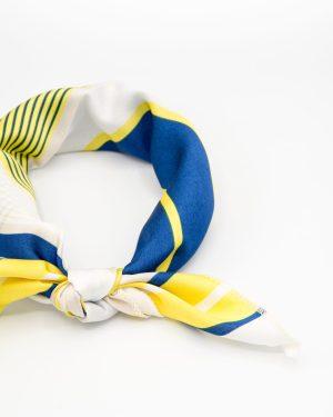 bandana géométrique blanc jaune et bleu pour femme