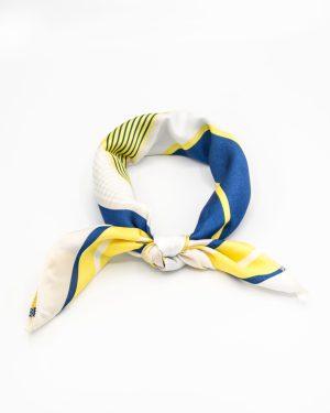 bandana géométrique blanc jaune et bleu