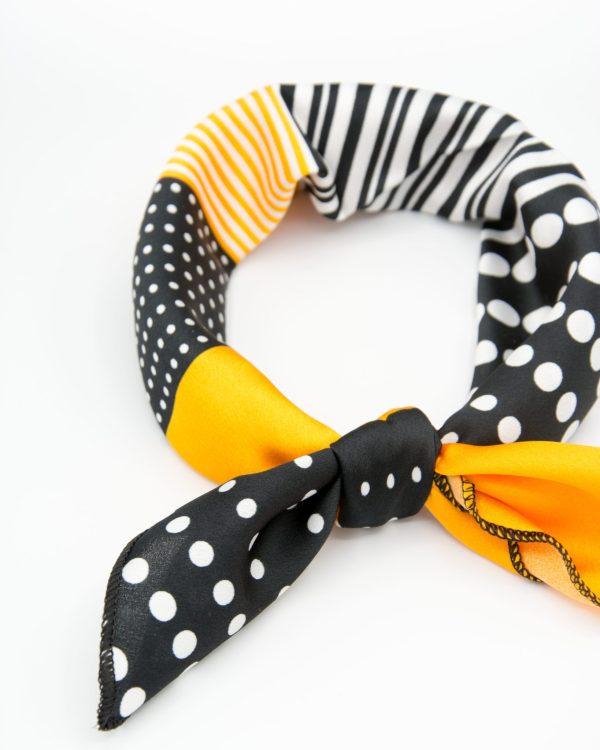 bandana géométrique noir et orange pour femme