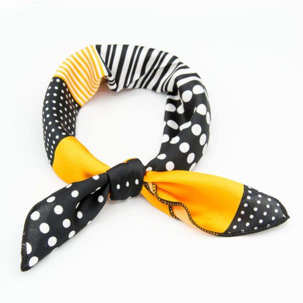 bandana géométrique noir et orange