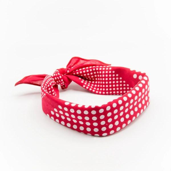 bandana homme ou femme rouge à pois blanc avec noeud
