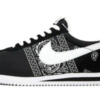 Black Bandana Teardrops Custom Nike Cortez Shoes Black Sides