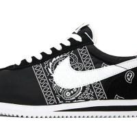 Black Bandana Teardrops Custom Nike Cortez Shoes NBW Sides