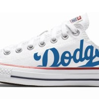 LA Dodgers Custom Converse Shoes White Low