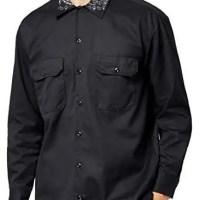 Black Bandana Custom Dickies Shirt Collar LS Black