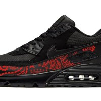 Red Bandana Custom Nike Air Max Shoes Black