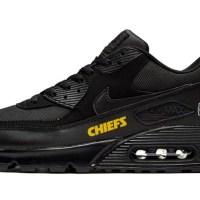 KC Chiefs Gold Custom Nike Air Max Shoes Black