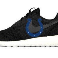 Indianapolis Colts Custom Nike Roshe Shoes Black Heels