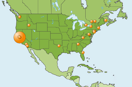 Les points oranges sont les lieux où on ouvre le blog.