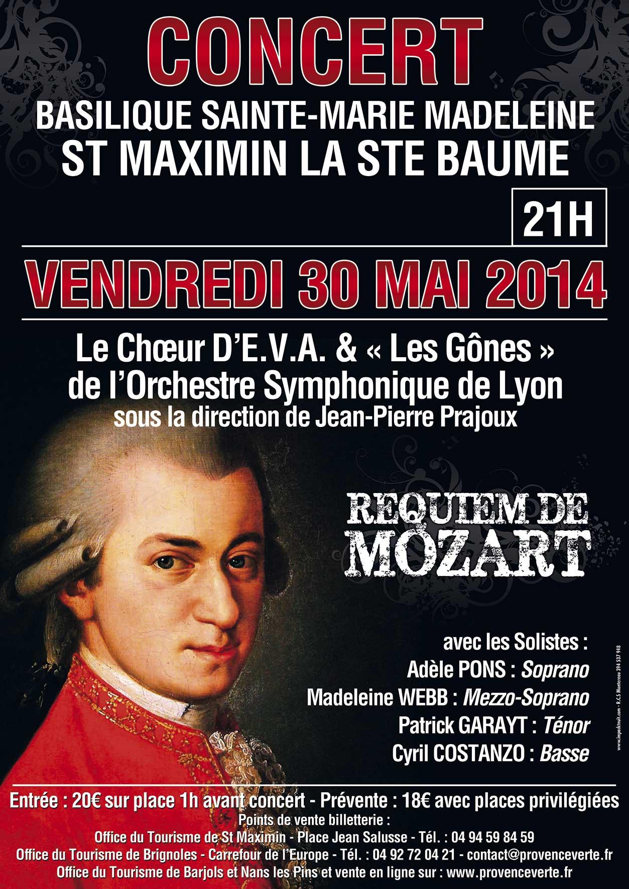 Concerts requiem de mozart au th tre jules verne le 29 mai - Office du tourisme le beausset ...