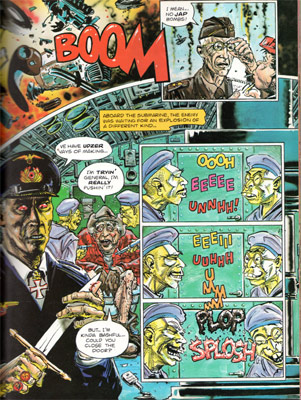 Enemy combatants are portrayed as they were on Red Scare bubblegum cards and other wartime ephemera.