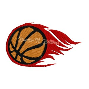 Flaming Basketball embroidery