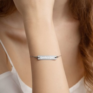 Gatsby's Girl Engraved Silver Bar Chain Bracelet
