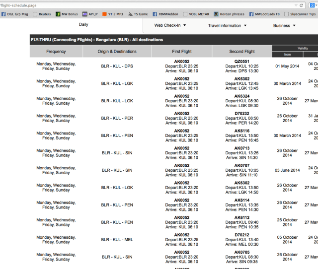 Screen Shot Of Airasia Flight Schedules Page Offering Fly Thru Connectivity To Domestic Malaysian Cities