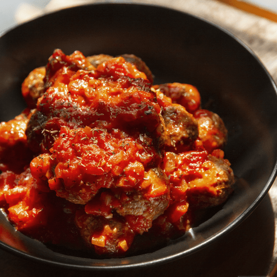 Red Devil Meatballs in a plate