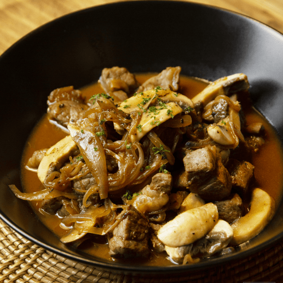 Beef Stroganoff in a plate ready to serve