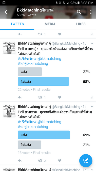 """Poll of Dating and """"Matchmaking"""" Agency asking if they will still get married to the partner that their family don't like."""