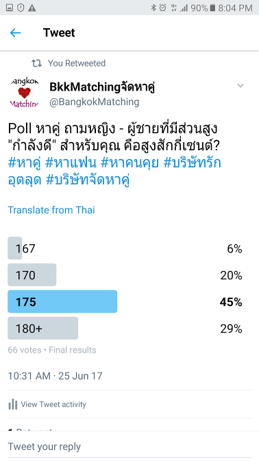 """""""Dating"""" Poll of BangkokMatching Dating and """"Matchmaking"""" Agency asking what is the good height for guys and ladies for you."""