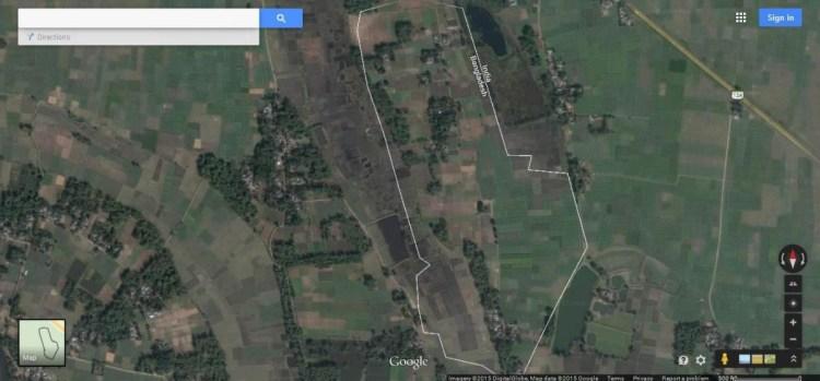 Enclave of Bangladesh-India border seen via Google map