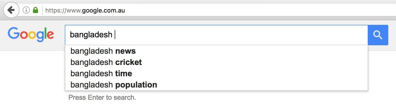 Bangladesh on Google Australia