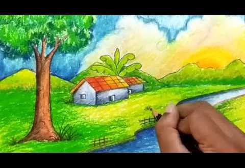 How To Draw Simple Natural Village Scenery For Kids