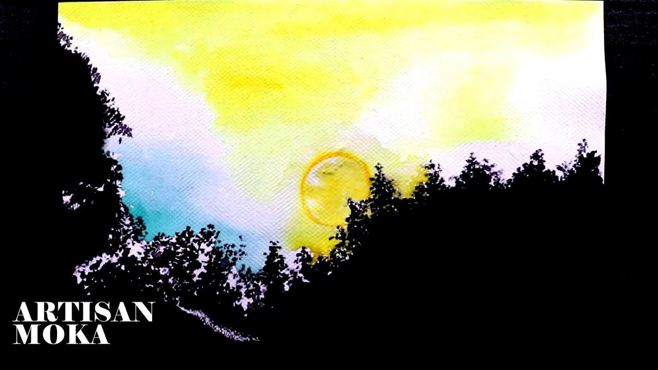 How To Draw A Easy Scenery Easy Watercolor Ideas Moonlight