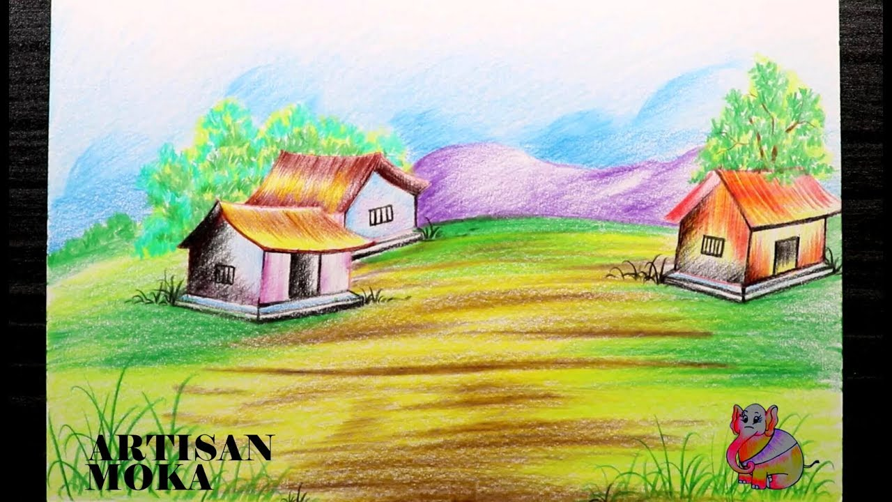 How To Draw A Scenery Of Village Easy Landscape Drawing Bangla Viral