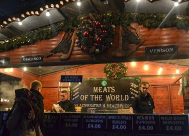 Meats of the World, Belfast Christmas Market at City Hall Northern Ireland