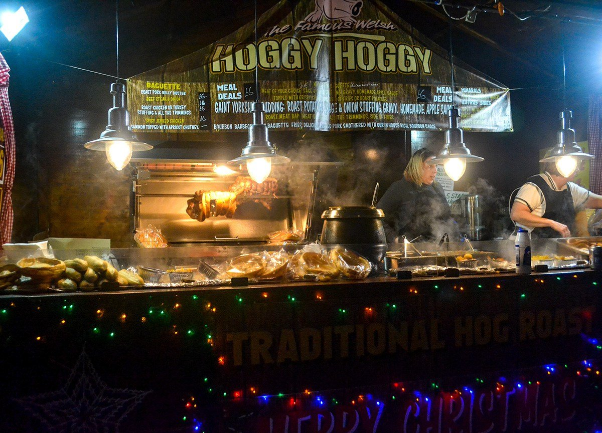 Hoggy Hog Roast at Belfast Christmas Market at City Hall Northern Ireland