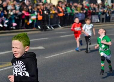 Kids Running Race, Saint Patricks Day Parade in Downpatrick Northern Ireland
