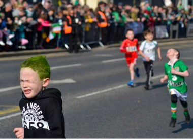 Kids Running Race, Saint Patricks Day Parade in Downpatrick Northern Ireland