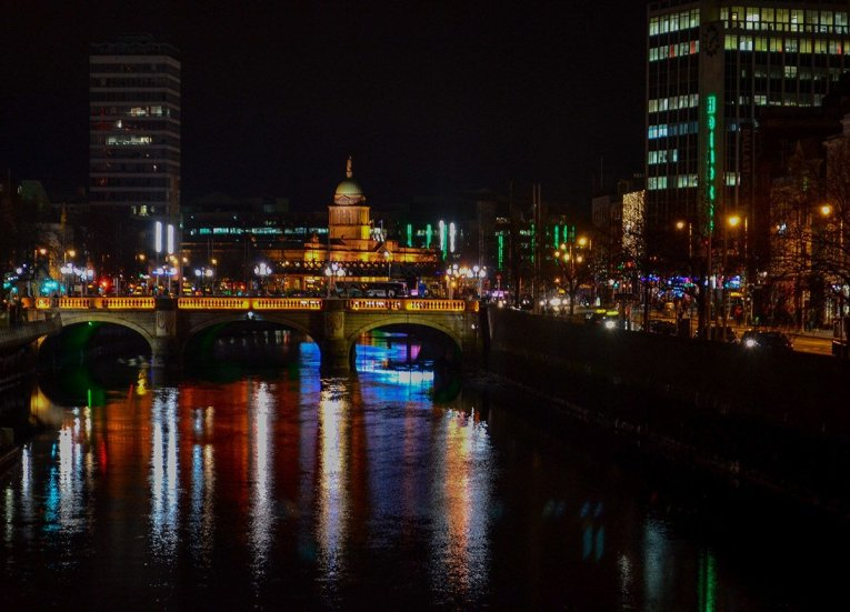 The RIver Liffey at Christmas in Dublin City Centre Ireland