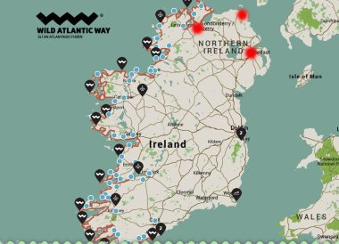 Map of North of Wild Atlantic Way Road Trip West Coast of Ireland