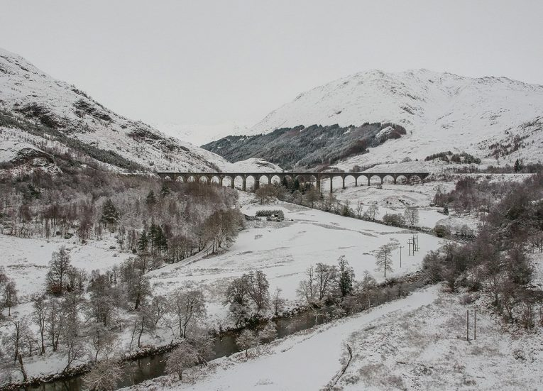 Glen-Finnan Bridge, Scotland Road Trip in Scottish Highlands in Winter Snow