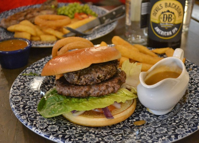 Wetherspoons Haggis Burger, Scotland Road Trip in Scottish Highlands in Winter Snow