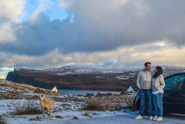 Winter Landscapes. Scotland Road Trip in Scottish Highlands in Winter Snow