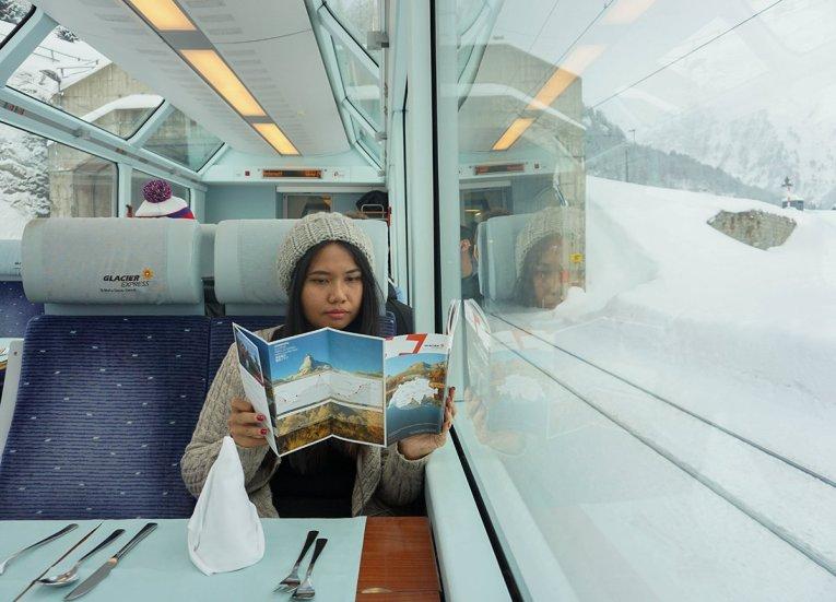 2nd Class Car Glacier Express, Interrail in Winter Train Travel in Europe