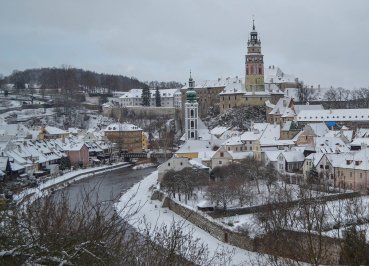 Snow in Cesky Krumlov in Winter Snow (Czech Republic)