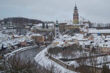 Snow in Cesky Krumlov in Winter Snow (Czech Republic)